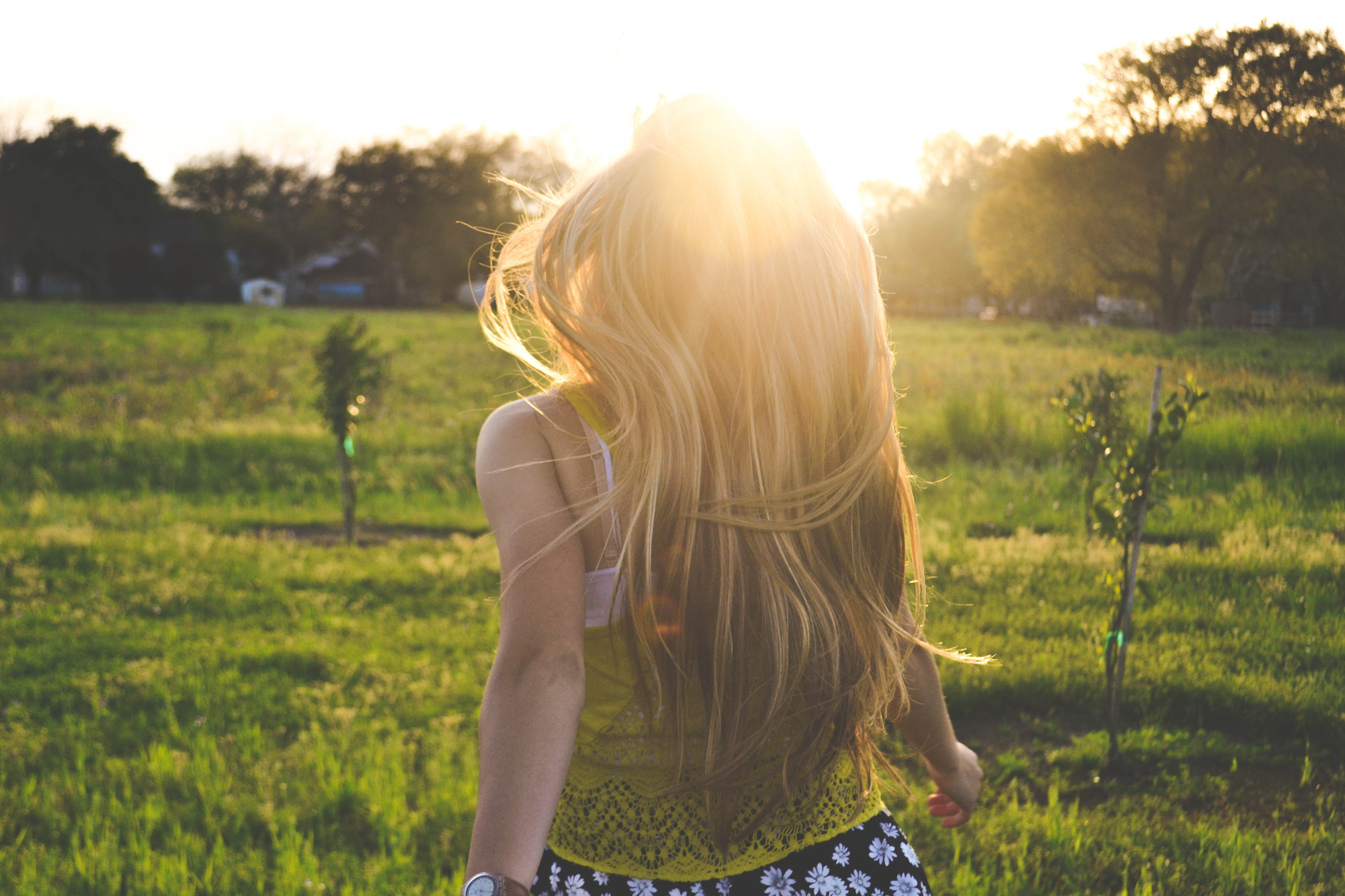 Young lady in a field watching the sunset